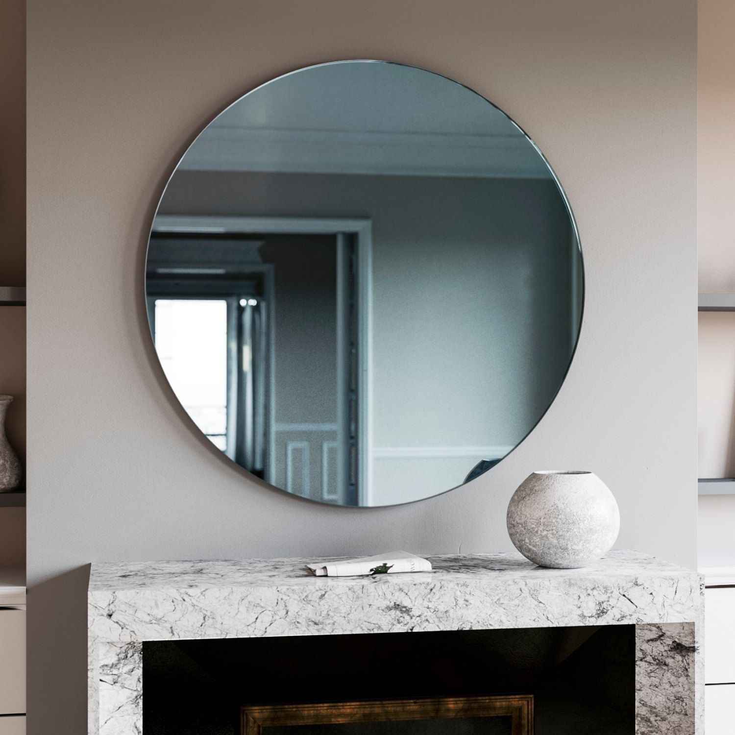 A Trendy Reflection Tinted Mirror Style Art Deco Wall Mirror