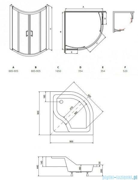 Besco Modern semicircular shower cabin with a shower tray 90×90 transparent …