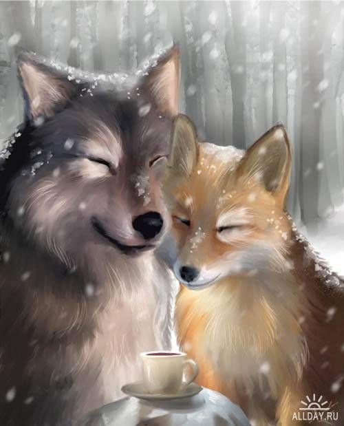 волк с лисой прикольные картинки близких коллег, заказав