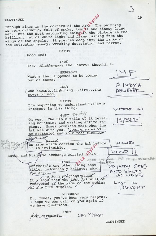 HarrisonS Annotated Shooting Script  Raiders Of The Lost Ark