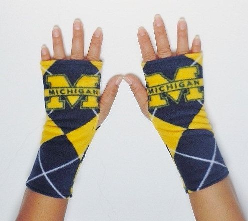 U of M Wolverines Blue and Maize Fingerless by TheLuxuryLine, $9.00