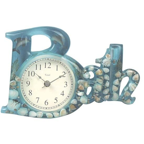 Kirch 1580DOLPHIN Blue Dolphin Sea Shell Bath Clock