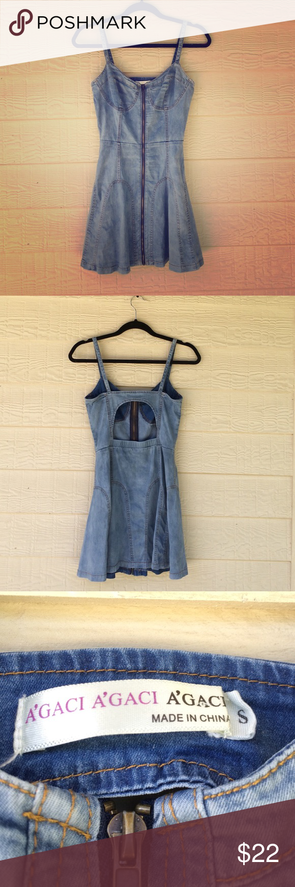 A blue denim Zip up dress This A'GACI detail denim dress has a zipper that goes from the bottom to the top. Creating a nice additional design to the dress, in the back it has a slit where you can show off your sexy back. a'gaci Dresses Mini