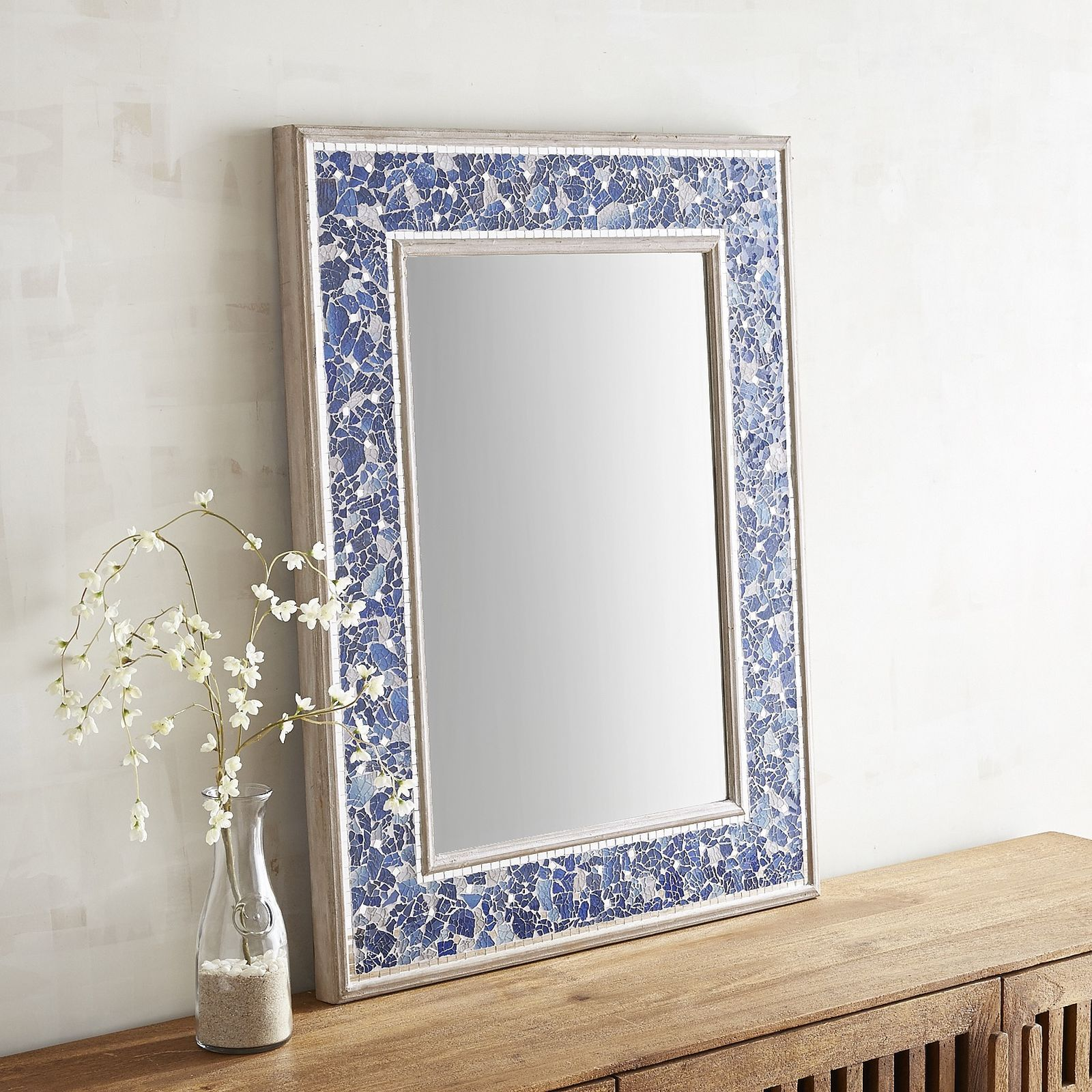 How Will Our Beautiful Blue Mirror Make An Impact In Your Home Expect A Sense Of Drama Thanks To The Hundreds Of Glittering With Images Mirror Mosaic Mirror Mosaic Glass