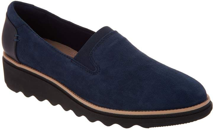 d677c198fa76a Clarks Suede Slip-On Loafers - Sharon Dolly | Products | Loafers ...