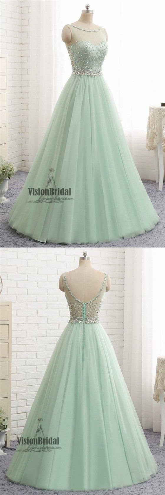 Mint green illusion neckline with beaded zipper up aline long prom