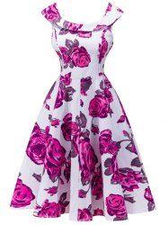 Retro Rose Floral Capelet Dress