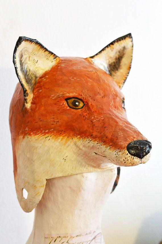 Paper Mache Fox Head Hat By Funghi On Etsy 75 00 Paper Mache