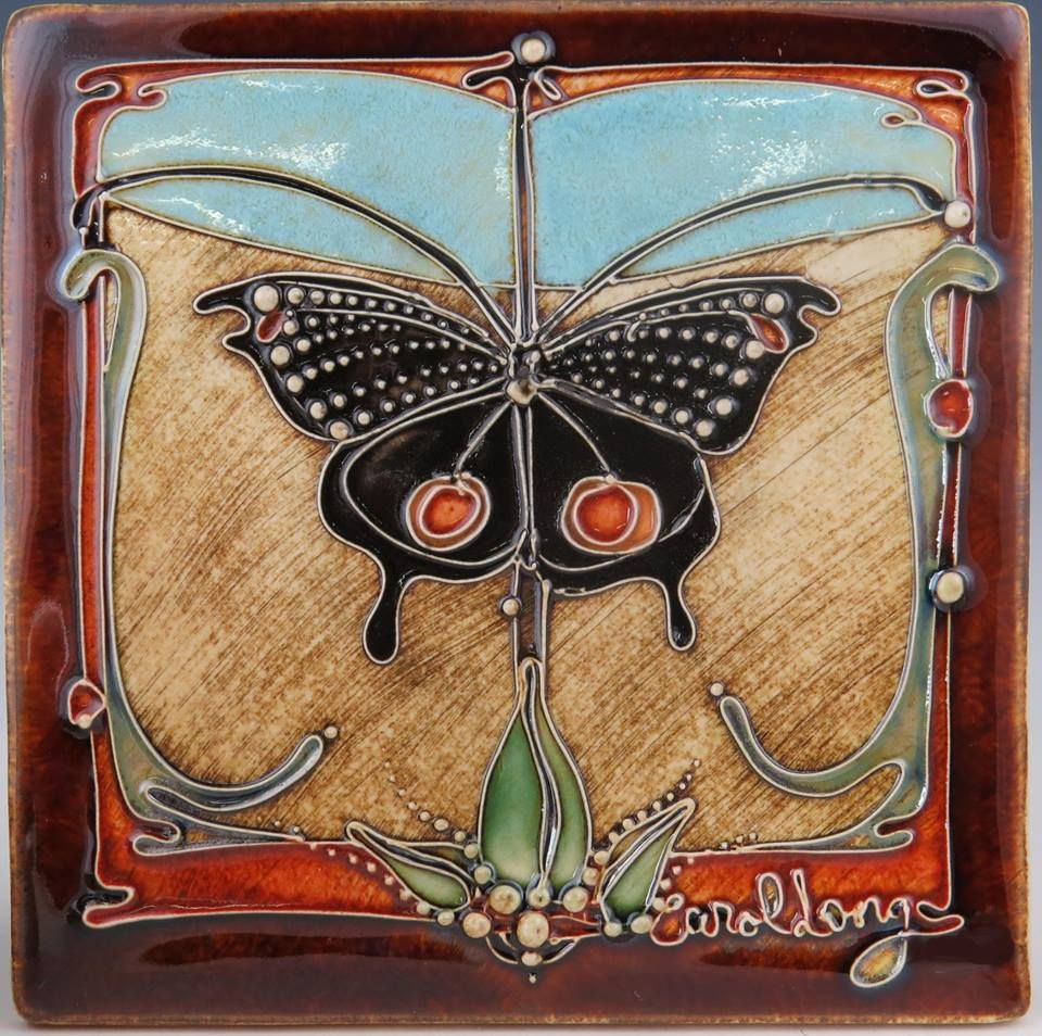 Butterfly ceramic tile art nouveau tiles pinterest butterfly butterfly ceramic tile dailygadgetfo Choice Image