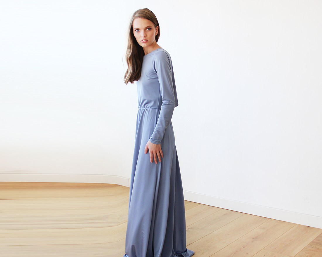 Dusty blue long sleeve formal maxi dress with openback my