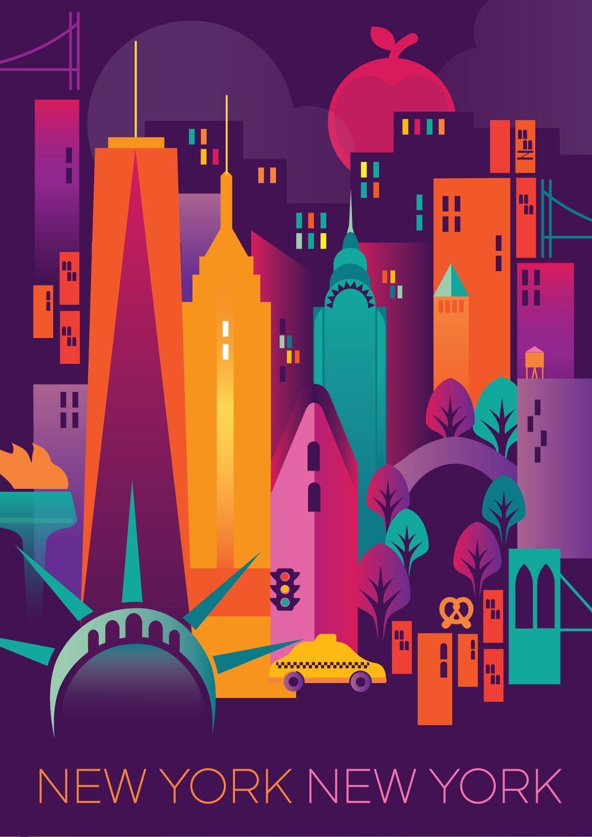 New York City Print Affiches De Voyage Retro Affiches Retro Affiches D Art Deco
