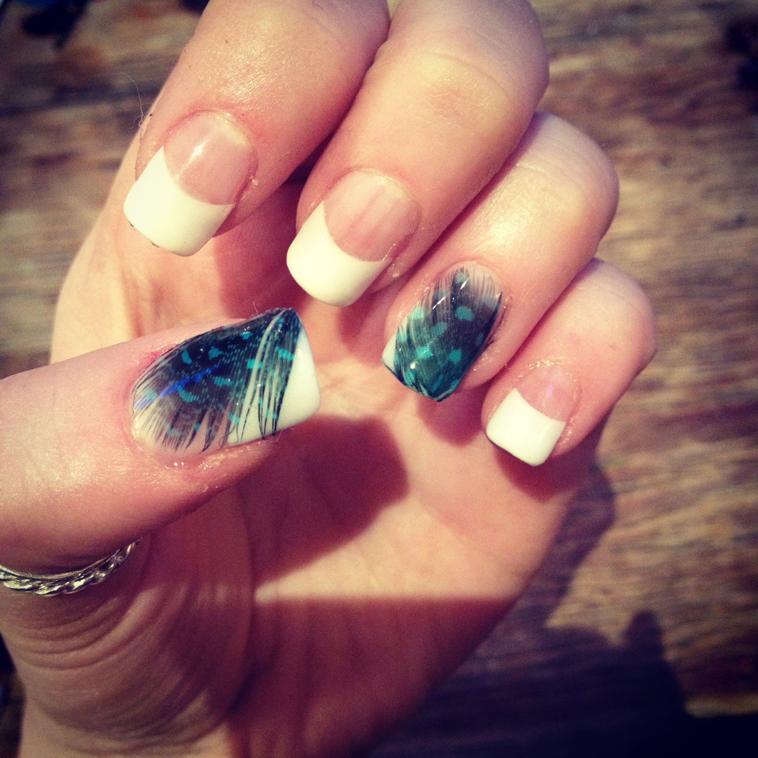 Simple acrylic French manicure by me :) feather design | Makeup ...