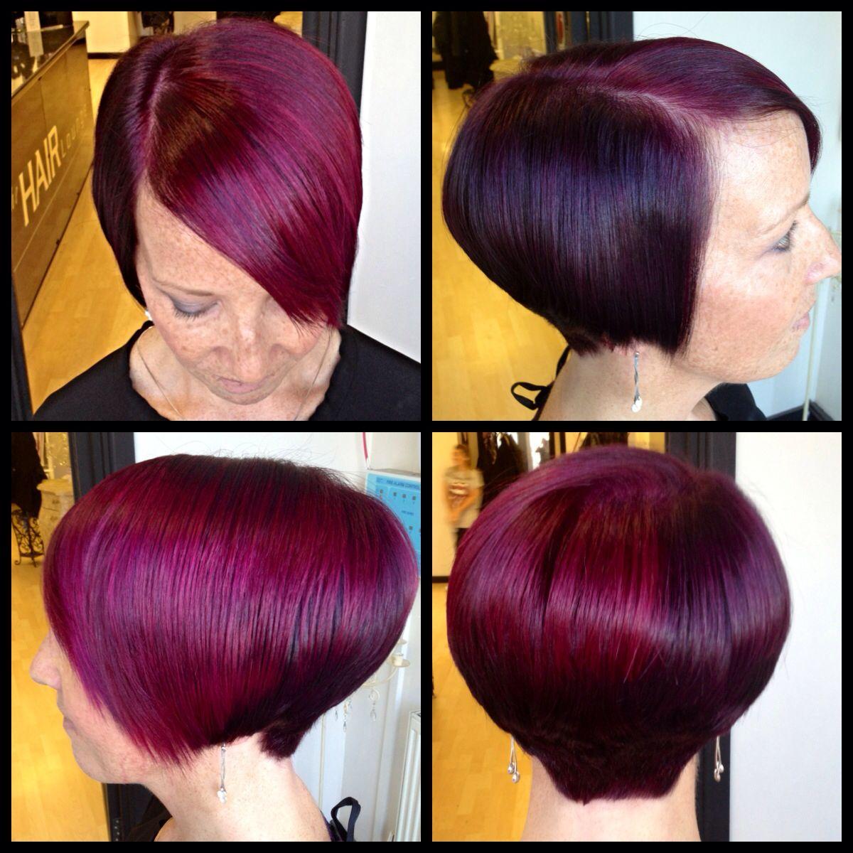 Pink hair purple graduated bob wella colour id red color also best images formulas colors rh pinterest