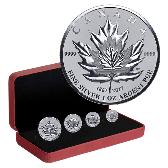 Pure Silver 4 Coin Fractional Set Maple Leaf Tribute