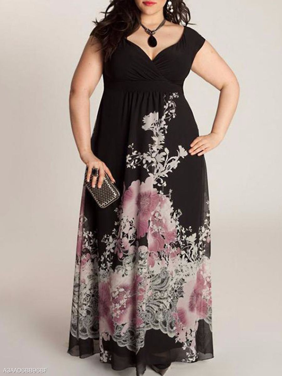 v-neck printed plus size midi & maxi dresses fashion #fall