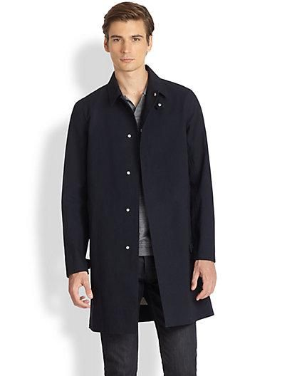 Theory's classic navy cotton trench is an absolute must for any Fifth Avenue Man!