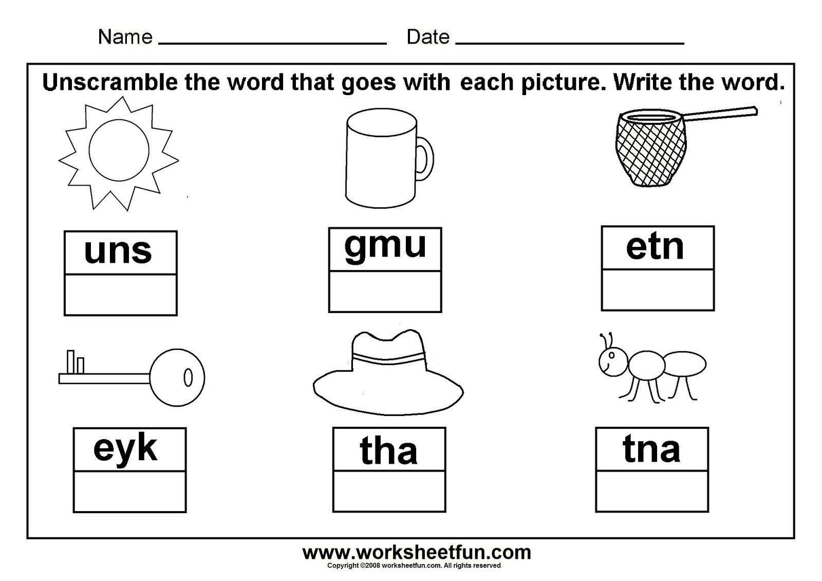 Unscramble CVC words; great to laminate and put with a dry erase marker in a word work ...