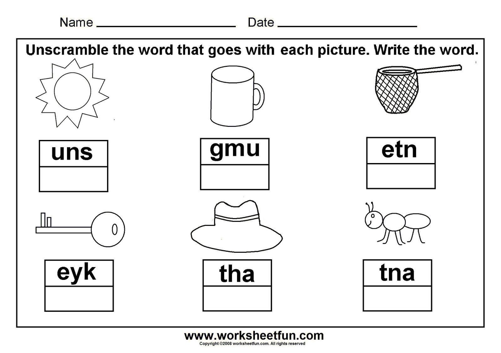Preschool Writing Words Worksheets