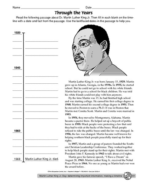 Martin Luther King Day Worksheet - The Mailbox Martin Luther King  Timeline, Martin Luther King Worksheets, Martin Luther King