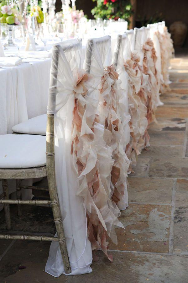 Ruffles Down The Chair Backs 3 Blush Wedding Colors Wedding Chairs Blush Wedding Colour Palettes