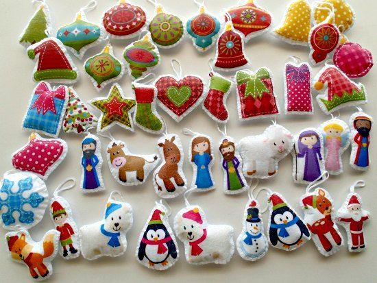 Easy felt christmas tree ornaments pack solutioingenieria Choice Image