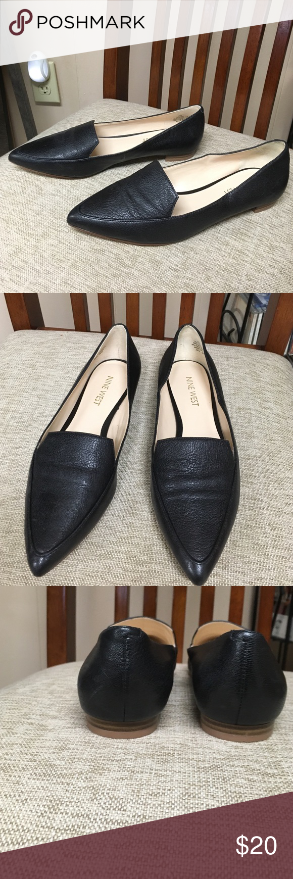 Nine West black leather pointy toe flats Nine West. Black leather point toe flats. Sophisticated.  Dress up or down. I needed a five. Nine West Shoes Flats & Loafers
