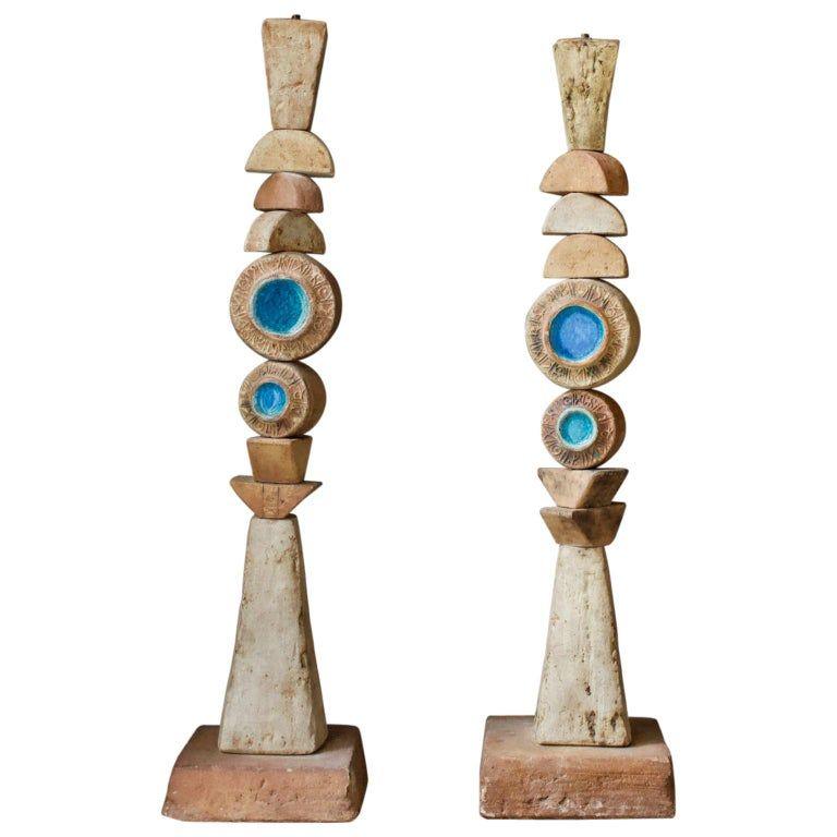 Set Of Two Bernard Rooke Studio Ceramic Totem Floor Lamps England 1960s Ceramics Ceramic Floor Lamps Floor Lamp