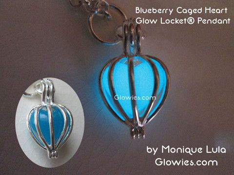Blueberry Caged Heart Glow Locket® Pendant
