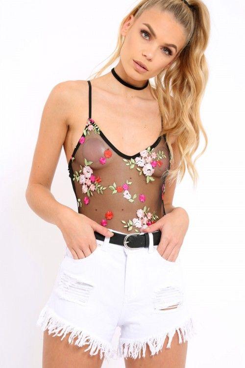 Black Floral Embroidered Sheer Mesh Bodysuit - Trina  110f3c5e0