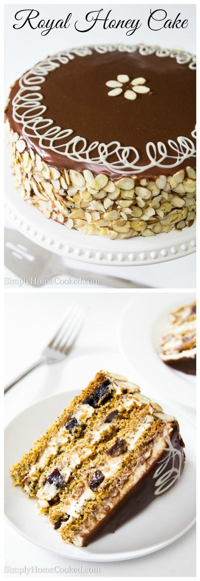 Four layers of honey poppy seed cake with a sweet cream filling and dried plums.