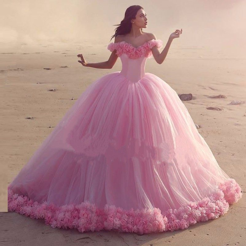 Find More Wedding Dresses Information about Pink Ball Gown 3D ...