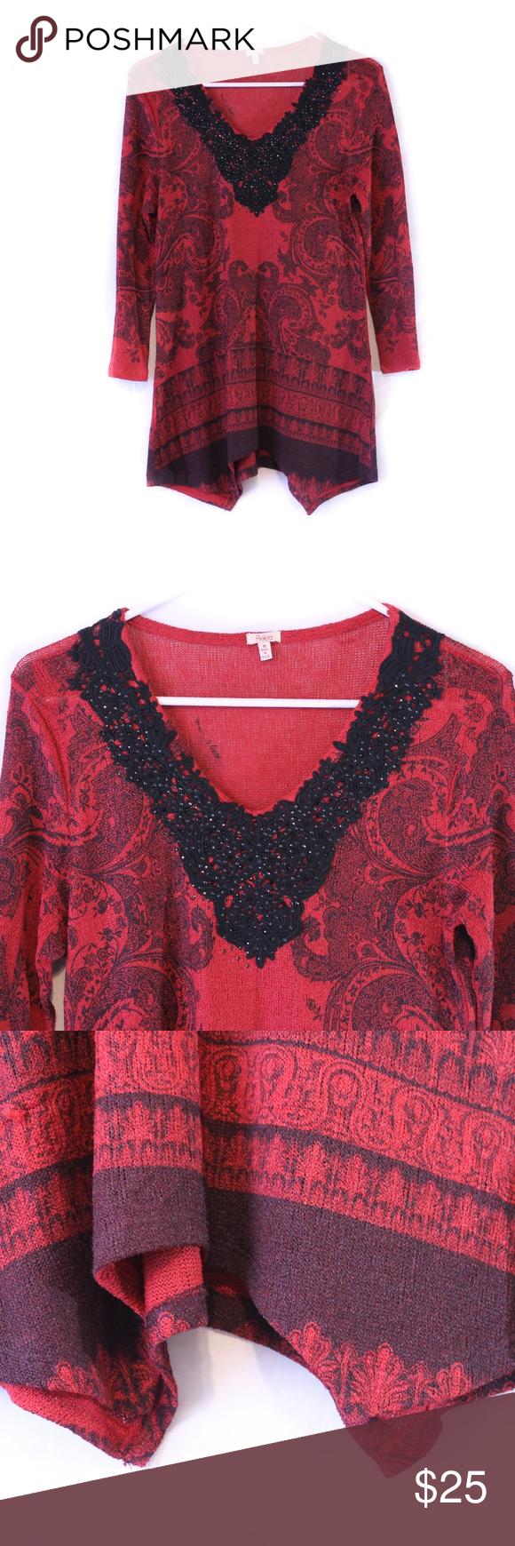 ceb95a28b19 Reba Sequin Top Medium Red Black Long Sleeves in 2018