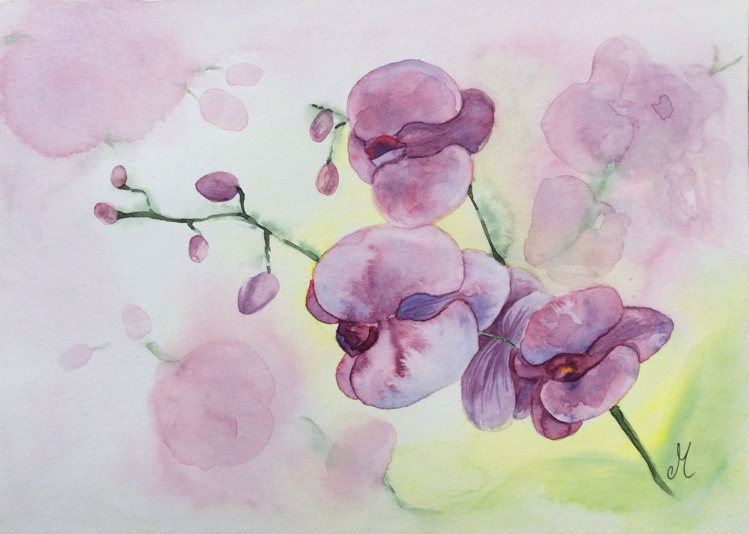 Purple Orchids Flowers Watercolor Original Watercolor Painting