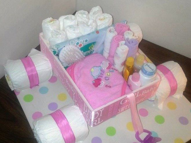 Unique Baby Shower Gift - Unique Diaper Cake - Wagon Diaper Cake - Baby Boy, Baby Girl, Neutral Gift by DiaperMakeOvers on Etsy