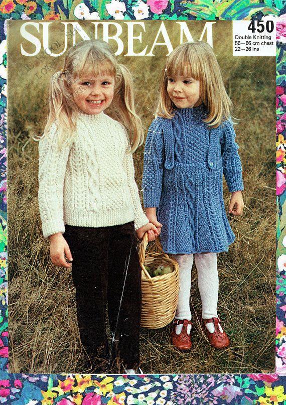 Original Vintage Baby Girl Dress Knitting Pattern ARAN | Knitting ...