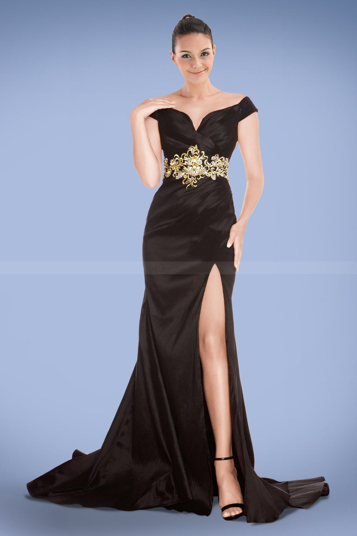 Provocative Off-shoulder Split-front Prom Dress with Applique and ...