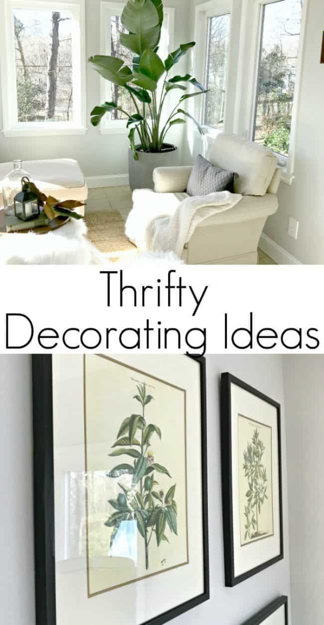 How to create a comfortable sunroom with thrifty decorating ideas. Thrifted artwork, gray painted walls, new plants, new lighting and dark gray paint for a back door transform a small space and make it welcoming.