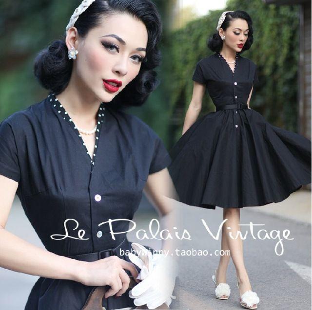 le palais vintage women 50s polka dot patch swing midi little black shirt dress  plus size 4xl vestidos rockabilly pinup dresses da39371c8cd4