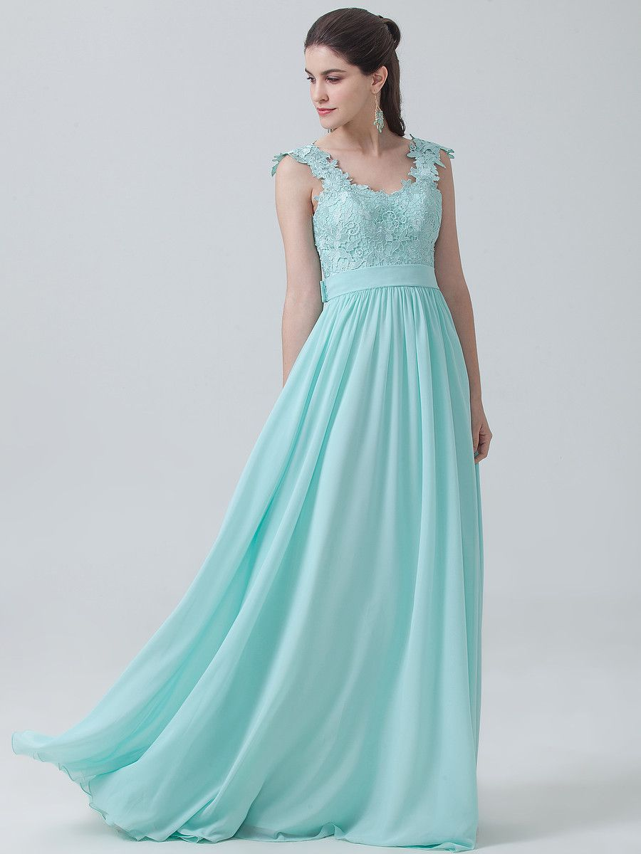 Mint bridesmaid dress with super pretty embroidery on the bust ...