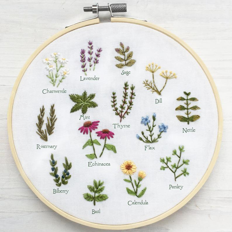 Tiny Herbs Hand Embroidery Pattern PDF Download, E
