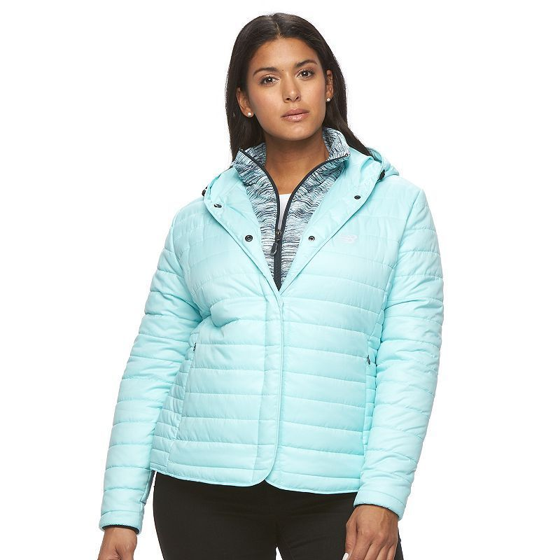 12932ee572a Plus Size New Balance Hooded Quilted Puffer Jacket