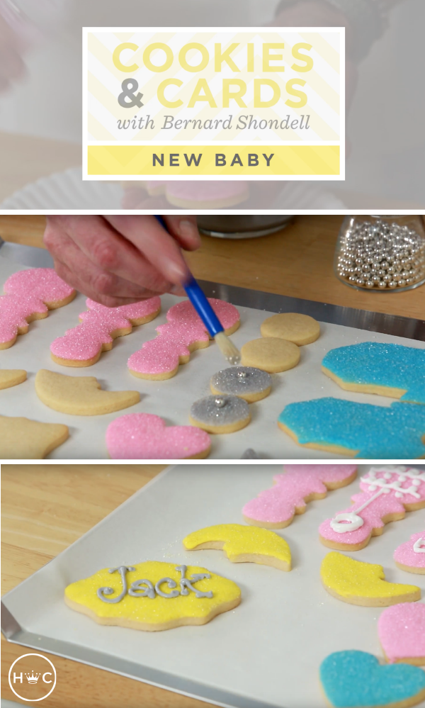 When it comes to planning the perfect baby shower, inspiration for your party theme can come from anywhere—even your favorite Hallmark card. Watch this video featuring Bernard Shondell from Hallmark Community . He'll teach you how to use something as simple as a greeting card as a starting point for your dessert table. Learn how to decorate cookies with sanding sugar, royal icing, and some edible silver bling. It's easier than you think!
