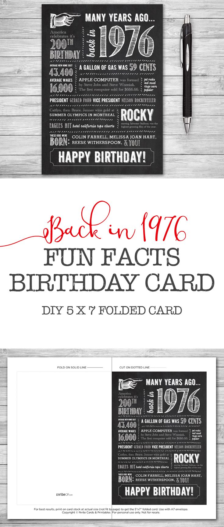 41st Birthday, Printable Card, 5x7 Folded, Many Years Ago Back in ...