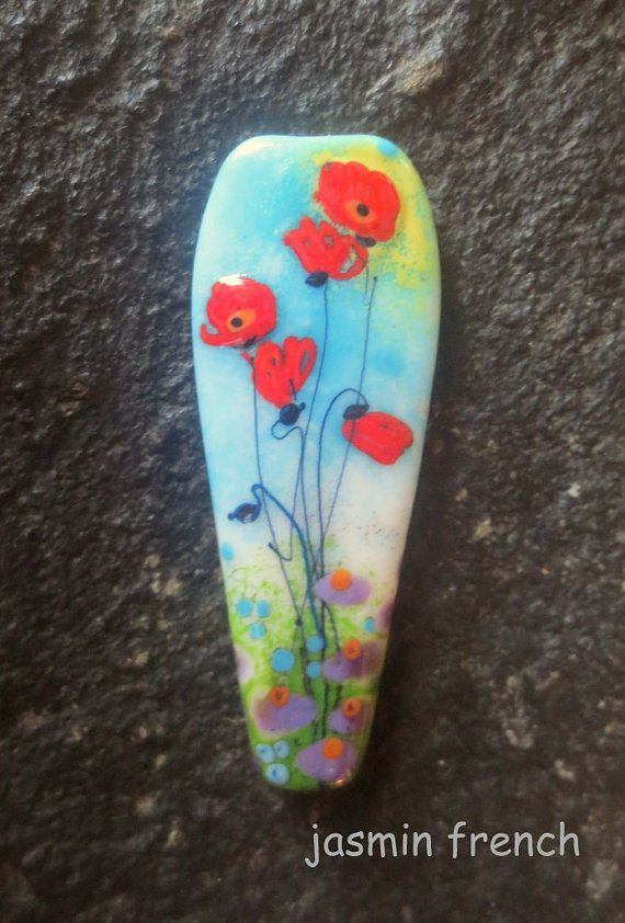 jasmin french ' poppy meadow ' turquoise lampwork focal