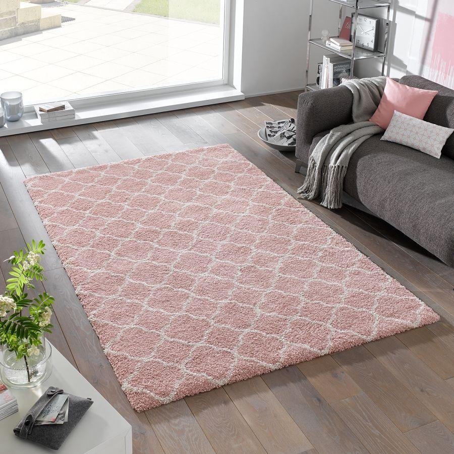 Hochflorteppich Luna Kunstfaser Kinderzimmer Teppich Rosa Teppich Rosa Und Wohnzimmerteppich