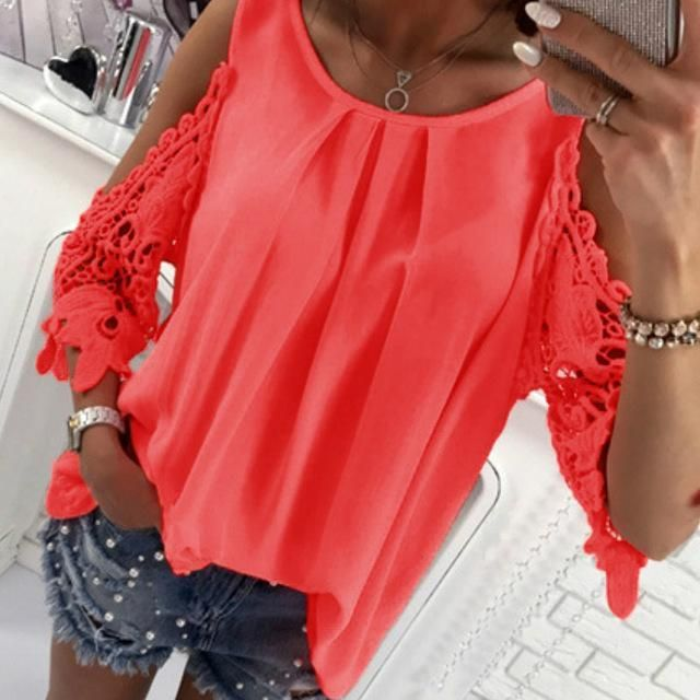 5af9ee617f780 Women Summer Chiffon Blouses 2018 New Casual Sexy Sun-top Blusas Half  Sleevemodkily Sexy Blouse