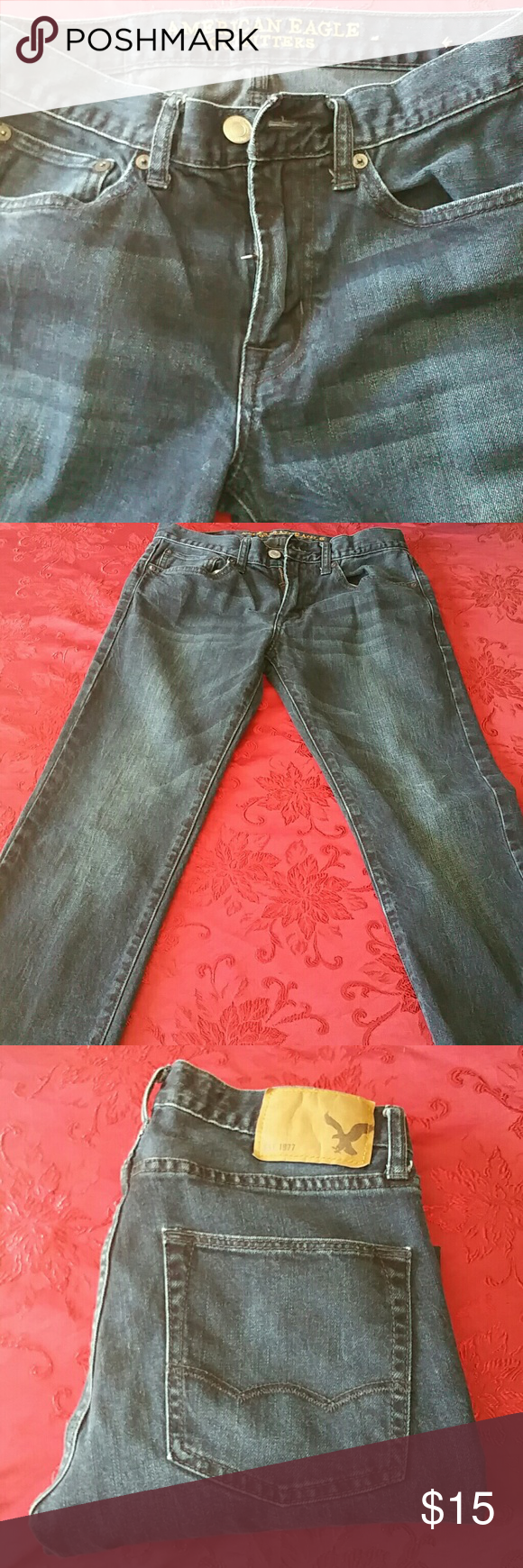 American Eagle Mens Jeans American Eagle Slim Straight Mens jeans. 28x32. Like new condition. NO fraying at bottom of legs. American Eagle Outfitters Jeans Slim Straight