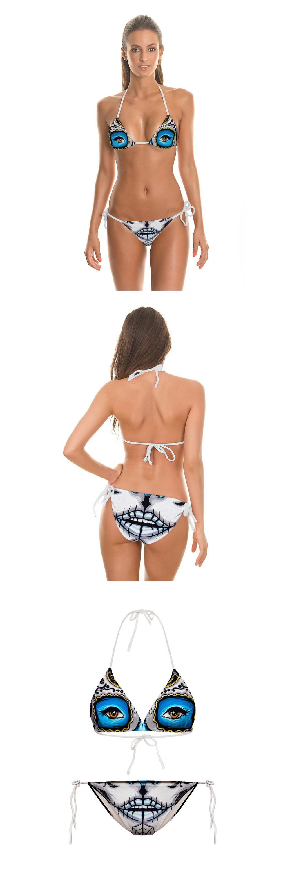 2016 new avatar 3D printing rope gather Bikini beach split two piece swimsuit girl $9.9