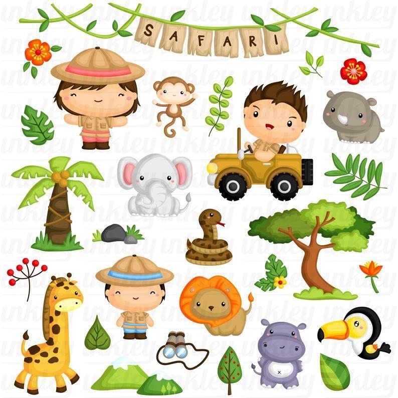 Safari Kids And Animal Clipart Jungle Animal Clip Art Etsy In 2021 Safari Kids Animal Clipart Animals For Kids