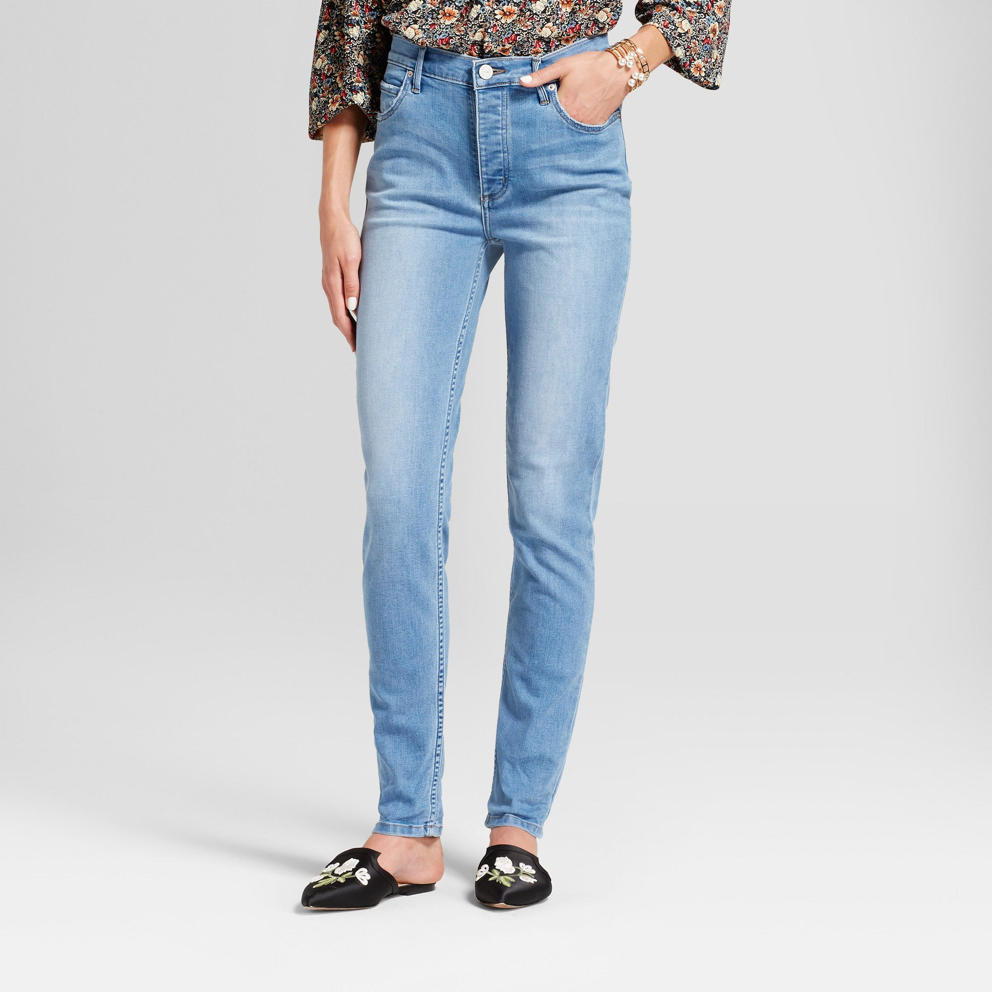 c3c87756 Women's High Rise Vintage Button Fly Jeans - Crafted by Lee Light Wash 16  Short